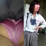 【電車JKパンチラ盗撮】思春期セックスしたい年頃!?のJKを逆さ撮りしたらド派手なパンティを履いていた!彼氏を誘惑するためにこんな派手なパンツを履いているのか!けしからん。