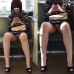 【電車内パンチラ盗撮】顔出し有。大股開きでパンツ丸見え!キャバ嬢な雰囲気のお姉さん。SNSチェック忙しいのかスマホばかりに集中して股間は完全ノーガード。スカートの中モロ見えてますw