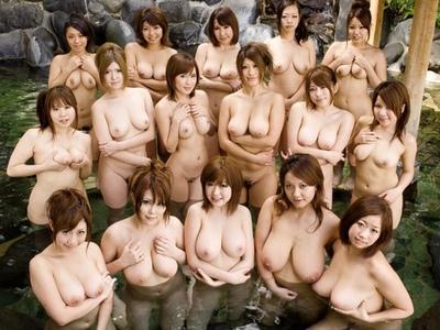もしもこんな露天風呂だったら!?Fカップ以上の巨乳なが勢ぞろいした乱交浴場